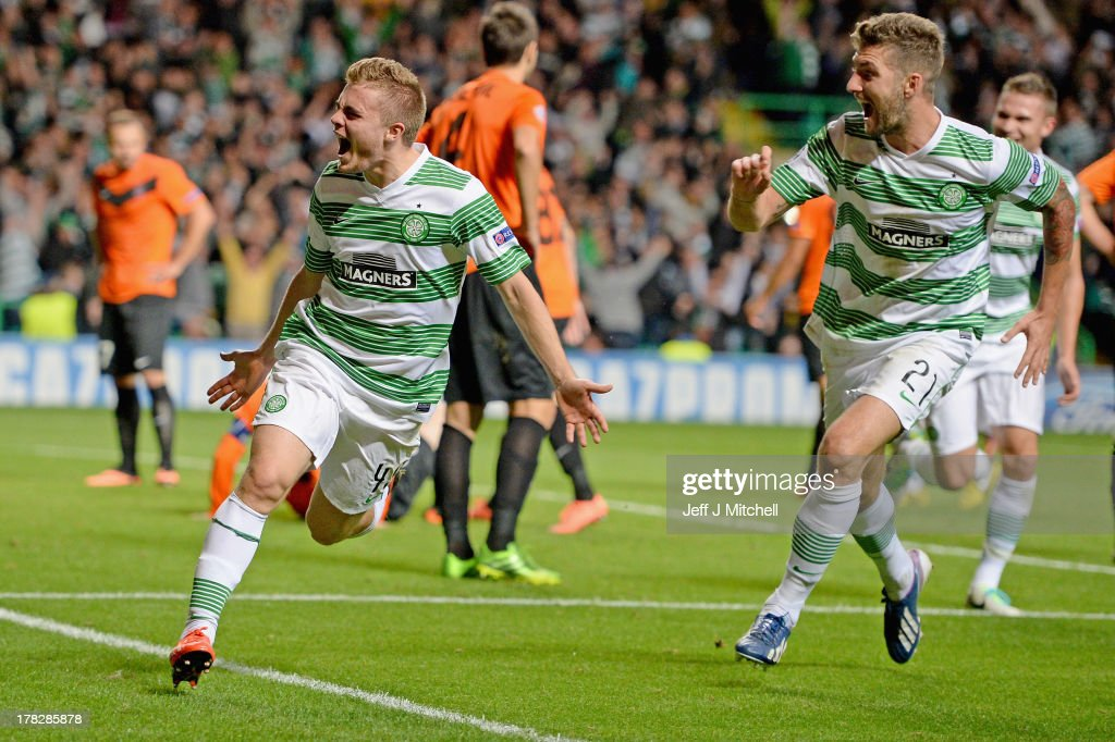 James Forrest of Celtic after scoring the winning goal during the UEFA Champions League Play-off second leg match between Celtic and Shakhter Karagandy at Celtic Park on August 28, 2013 in Glasgow,Scotland.