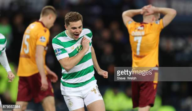 James Forrest of Celtic celebrates his goal with during the Betfred Cup Final at Hampden Park on November 26 2017 in Glasgow Scotland