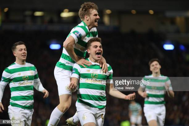 James Forrest of Celtic celebrates his goal with Stuart Armstrong Moussa Celtic during the Betfred Cup Final at Hampden Park on November 26 2017 in...
