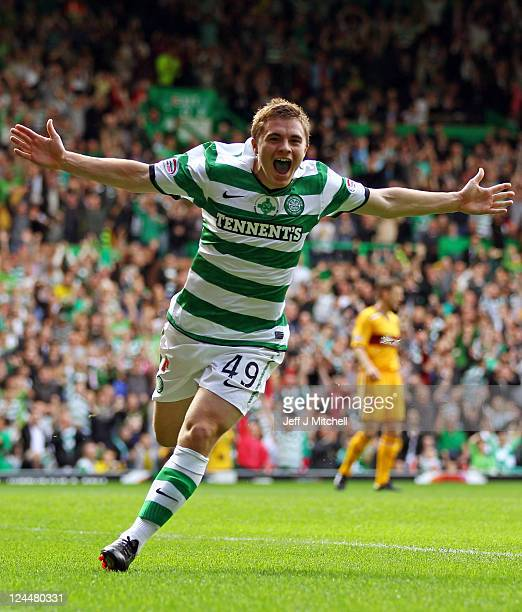 James Forrest of Celtic celebrates scoring his team's opening goal during the Clydesdale Bank Premier League match between Celtic and Motherwell at...