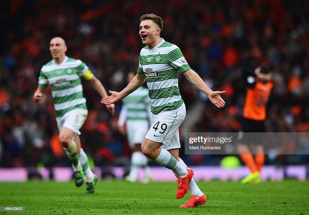 James Forrest of Celtic celebrates scoring his team's second goal during the Scottish League Cup Final between Dundee United and Celtic at Hampden Park on March 15, 2015 in Glasgow, Scotland.