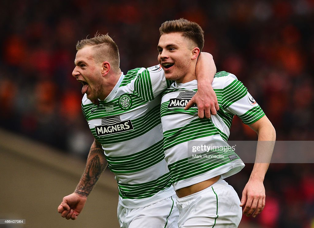 James Forrest (R) of Celtic celebrates scoring his team's second goal with John Guidetti of Celtic during the Scottish League Cup Final between Dundee United and Celtic at Hampden Park on March 15, 2015 in Glasgow, Scotland.