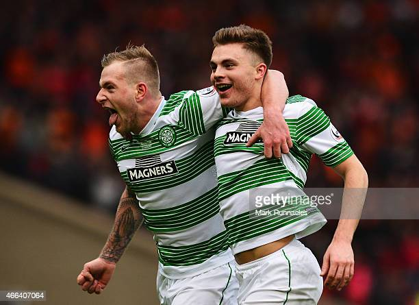 James Forrest of Celtic celebrates scoring his team's second goal with John Guidetti of Celtic during the Scottish League Cup Final between Dundee...