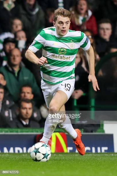 James Forrest of Celtic controls the ball during the UEFA Champions League group B match between Celtic FC and Bayern Muenchen at Celtic Park on...
