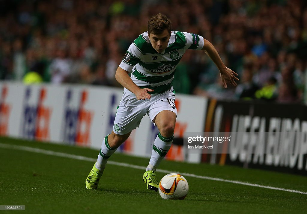James Forrest of Celtic controls the ball during the UEFA Europa League match between Celtic FC and Fenerbahce SK at Celtic Park on October 01, 2015 in Glasgow, Scotland.