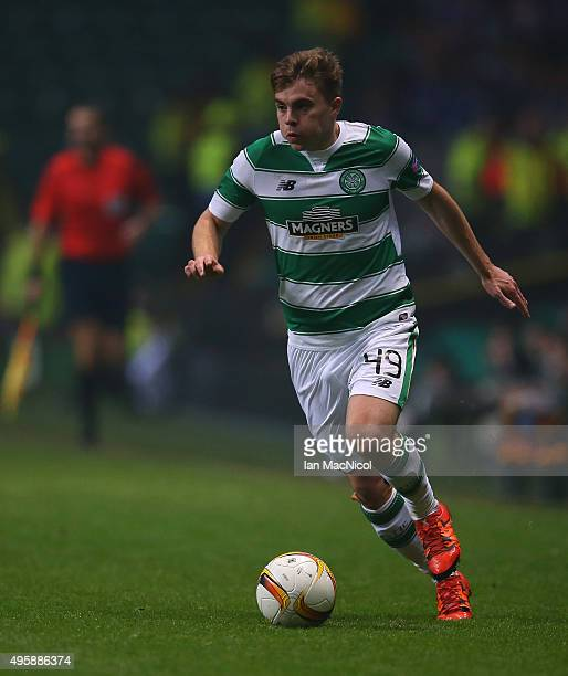 James Forrest of Celtic controls the ball during the UEFA Europa League match between Celtic FC and Molde FK at Celtic Park on November 5 2015 in...