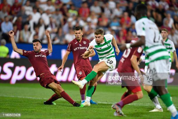 James Forrest of Celtic FC in action against Luis Aurelio of CFR Cluj during the UEFA Champions League 2019/2020 Third Qualifying Round between CFR...