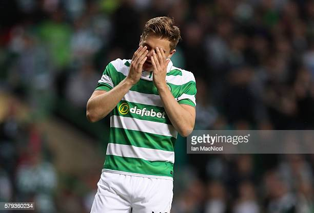 James Forrest of Celtic reacts after he misses his penalty during the Pre Seanon Friendly match between Cetlic and Leicester City at Celtic Park...