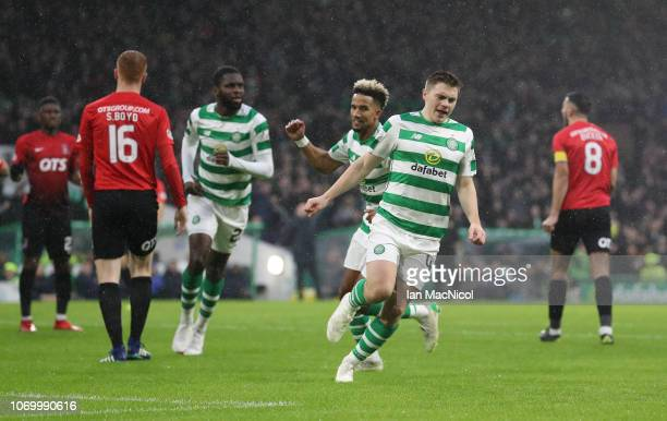 James Forrest of Celtic reacts after scoring the opening goal during the Scottish Ladbrokes Premiership match between Celtic and Kilmarnock at Celtic...