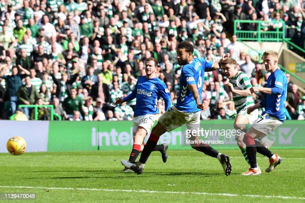 James Forrest of Celtic scores his side second goal during the Ladbrokes Scottish Premiership match between Celtic and Rangers at Celtic Park on...