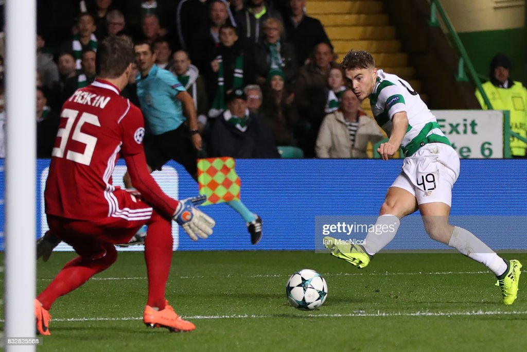 James Forrest of Celtic scores his team's fourth goal during the UEFA Champions League Qualifying Play-Offs Round First Leg match between Celtic FC and FK Astana at Celtic Park on August 16, 2017 in Glasgow, United Kingdom.