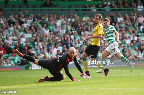 James Forrest of Celtic scores his team's third goal during the UEFA Champions League Qualifier between Celtic and Alashkert FC at Celtic Park on...