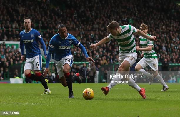 James Forrest of Celtic shoots at goal during the Scottish Premier League match between Celtic and Ranger at Celtic Park on December 30 2017 in...