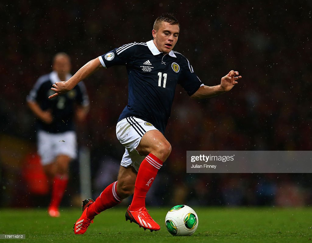 James Forrest of Scotland in action during the FIFA 2014 World Cup Qualifying Group A match between Scotland and Belgium at Hampden Park on September 6, 2013 in Glasgow, Scotland.