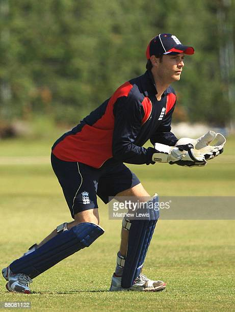 James Foster of England in action during a nets session at the National Cricket Performance Centre at Loughborough University on May 31 2009 in...
