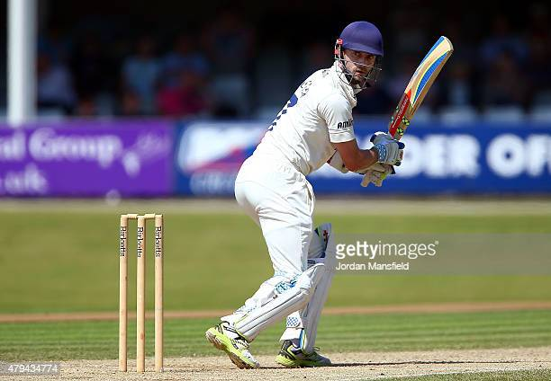 James Foster of Essex hits out during day four of the tour match between Essex and Australia at The Essex County Ground on July 4 2015 in Chelmsford...