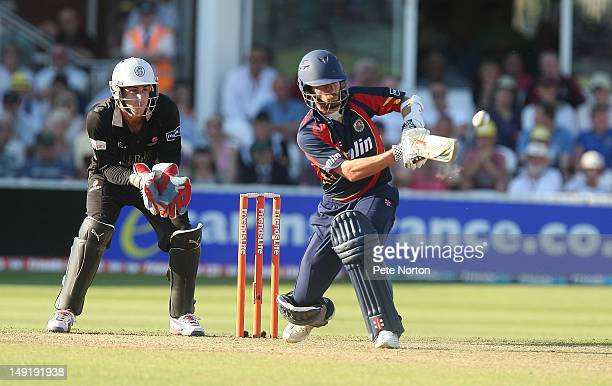 James Foster of Essex plays a shot as Craig Kieswetter of Somerset looks on during the Friends Life T20 quarter final between Somerset and Essex at...