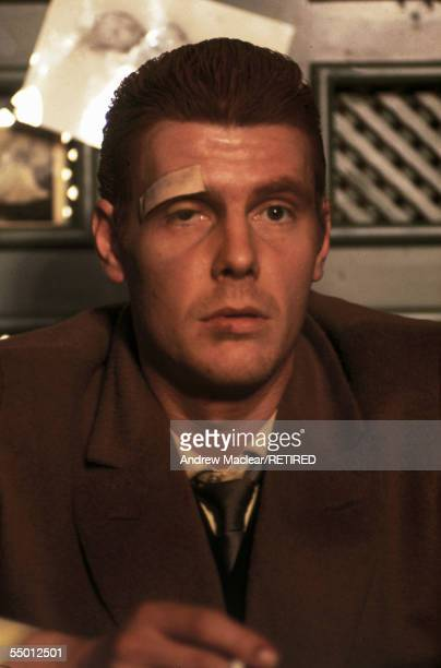 James Fox as London gangster, Chas on the set of Donald Cammell and Nicolas Roeg's psychological thriller, 'Performance', 1968.