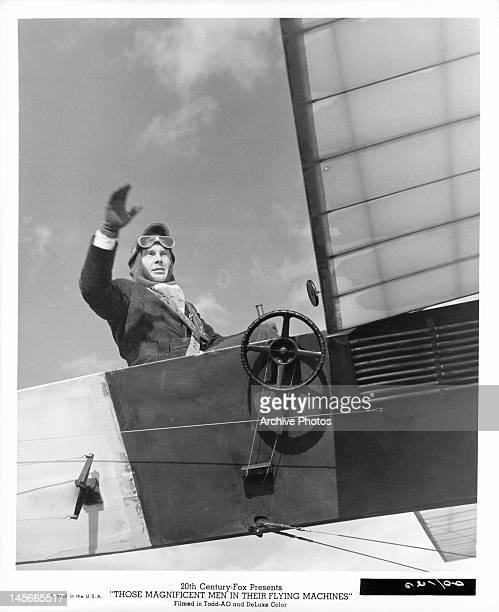 James Fox in cockpit of his plane in a scene from the film 'Those Magnificent Men In Their Flying Machines Or How I Flew From London To Paris In 25...