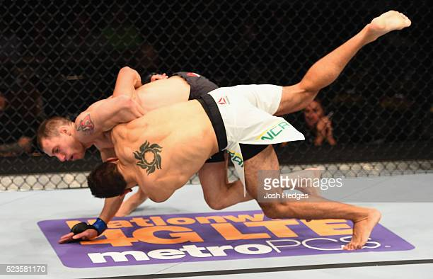 James Franca takes down Glaico Franca in their lightweight bout during the UFC 197 event inside MGM Grand Garden Arena on April 23 2016 in Las Vegas...