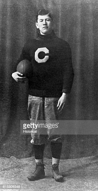 James Francis Thorpe a Sauk and Fox from Oklahoma and a famous athlete wears the football uniform of the Carlisle Indian School Pennsylvania ca 1909