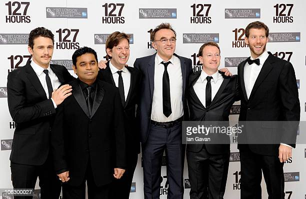 James Franco Allah Rakha Rahman Producer Christian Colson Director Danny Boyle Screenwriter Simon Beaufoy and Aron Ralston attend the European...