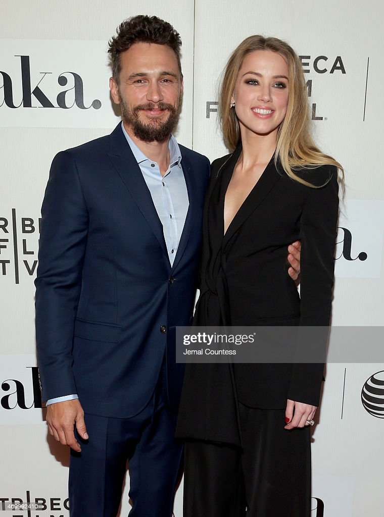 James Franco and Amber Heard attend the premiere of 'The Adderall Diaries' during the 2015 Tribeca Film Festival at BMCC Tribeca PAC on April 16, 2015 in New York City.