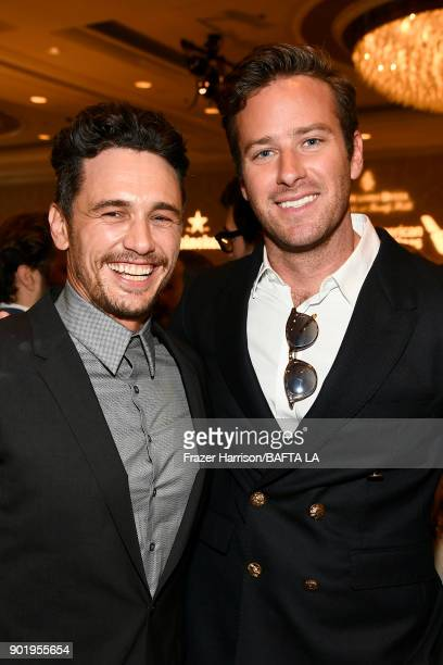 James Franco and Armie Hammer attend The BAFTA Los Angeles Tea Party at Four Seasons Hotel Los Angeles at Beverly Hills on January 6 2018 in Los...