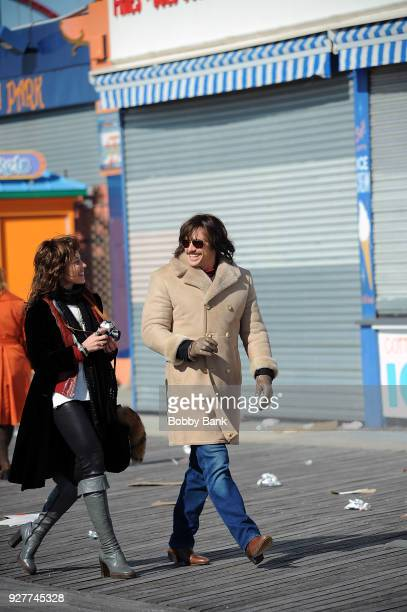 James Franco and Margarita Levieva on the set of The Deuce season 2 at Coney Island Brooklyn on March 5 2018 in New York City