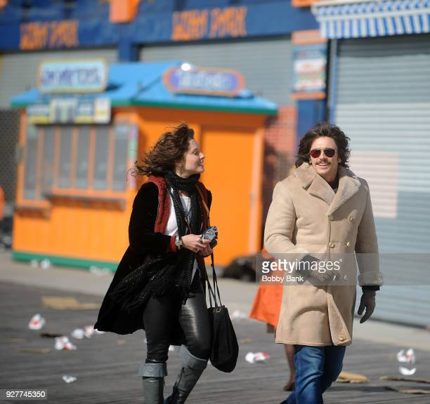 """James Franco and Margarita Levieva on the set of """"The Deuce"""" season 2 at Coney Island, Brooklyn on March 5, 2018 in New York City."""