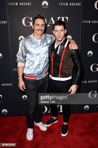 James Franco and Nick Jonas attend the 'Goat' New York premiere at Landmark's Sunshine Cinema on September 19 2016 in New York City