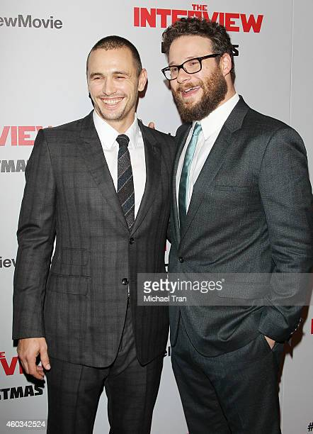 """James Franco and Seth Rogen arrive at the Los Angeles premiere of """"The Interview"""" held at The Theatre at Ace Hotel Downtown LA on December 11, 2014..."""