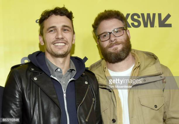 James Franco and Seth Rogen attend the premiere of 'The Disaster Artist' during the 2017 SXSW Conference And Festivals at the Paramount Theater on...