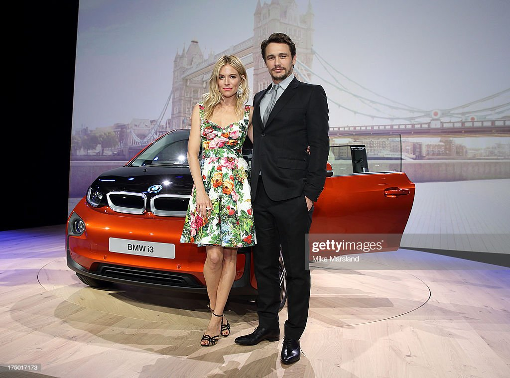 James Franco and Sienna Miller attend the BMWi3 global reveal party at Old Billingsgate Market on July 29, 2013 in London, England.