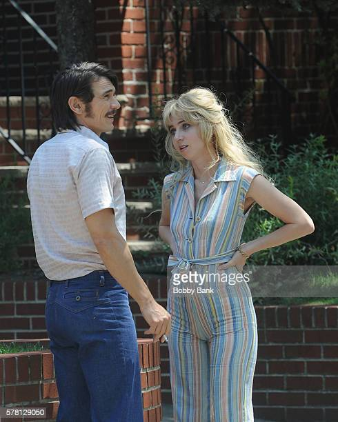 """James Franco and Zoe Kazan on the set of """"The Deuce"""" on July 20, 2016 in New York City."""