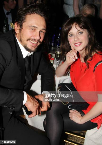 James Franco and Zooey Deschanel attend the after party for the Broadway opening night of 'Of Mice and Men' at The Plaza Hotel on April 16 2014 in...