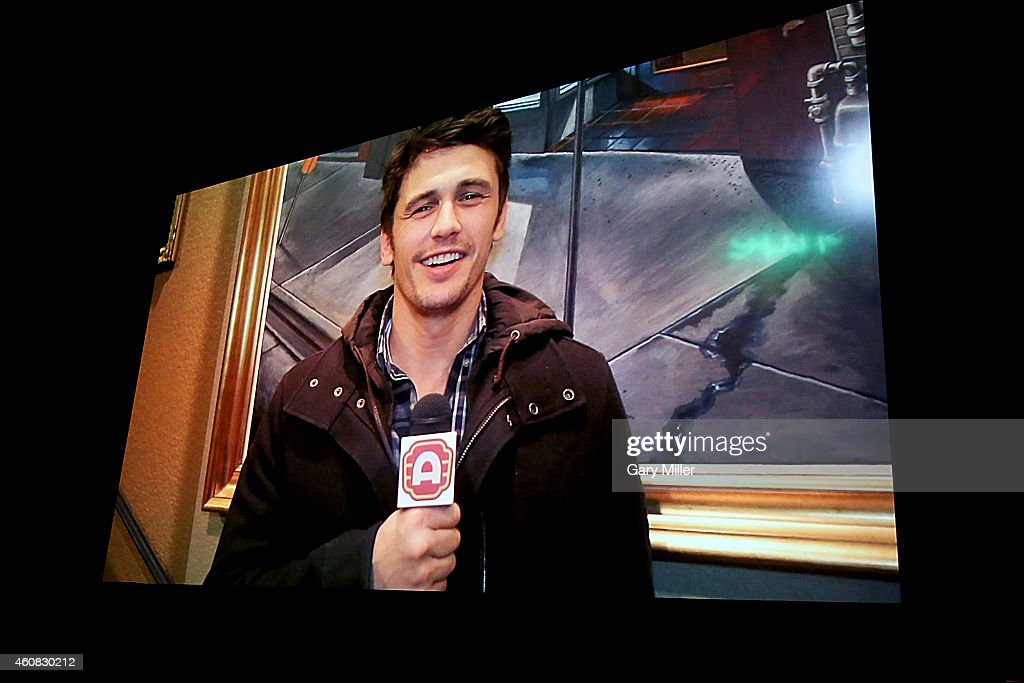 James Franco appears in a pre recorded message before a screening of Sony Pictures' 'The Interview' which opens on Christmas Day, December 25, 2014 in Austin, Texas. Sony hackers have been releasing stolen information and threatened attacks on theaters which screened the film.