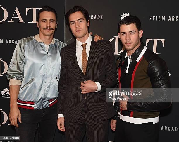James Franco Ben Schnetzer and Nick Jonas attend the Goat New York Premiere at Landmark's Sunshine Cinema on September 19 2016 in New York City