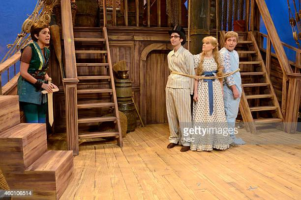 LIVE James Franco Episode 1670 Pictured Cecily Strong as Allison Williams' Peter Pan Kyle Mooney as John Kate McKinnon as Wendy and Beck Bennett as...