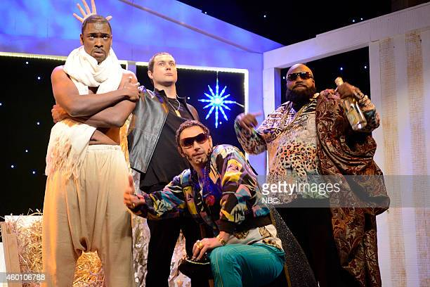 LIVE 'James Franco' Episode 1670 Pictured Jay Pharoah as Kanye West Taran Killam as Eminem James Franco as Riff Raff and Kenan Thompson as Rick Ross...