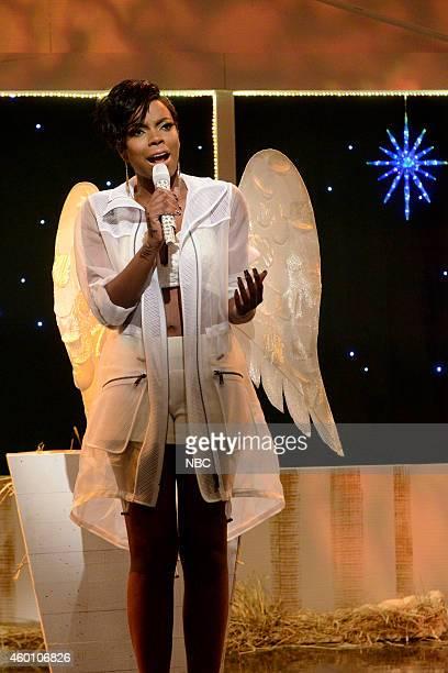 LIVE 'James Franco' Episode 1670 Pictured Sasheer Zamata as Rihanna during the 'Jingle Ballerz' skit on December 6 2014