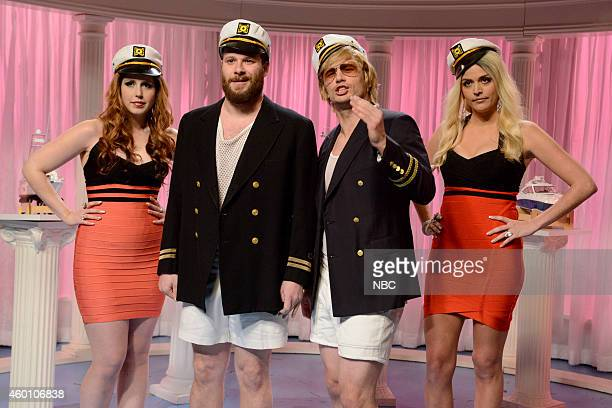 LIVE 'James Franco' Episode 1670 Pictured Vanessa Bayer as Brecky Seth Rogen as James Franco James Franco as Captain Jack Swallow and Cecily Strong...