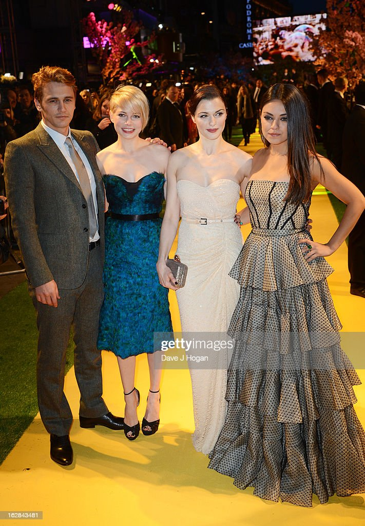 James Franco, Michelle Williams, Rachel Weisz and Mila Kunis attend the European premiere of Oz: The Great And Powerful at The Empire Leicester Square on February 28, 2013 in London, England.