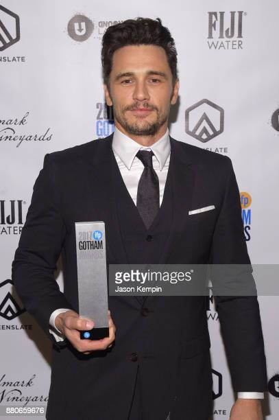 James Franco poses with his award at the GreenSlate Greenroom at The 2017 Gotham Awards at Cipriani Wall Street on November 27 2017 in New York City