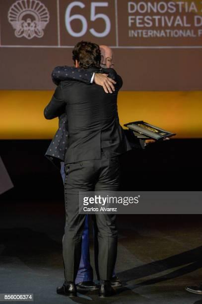 James Franco receives the Best Film Award for the 'The Disaster Artist' film during 65th San Sebastian Film Festival at Kursaal on September 30 2017...