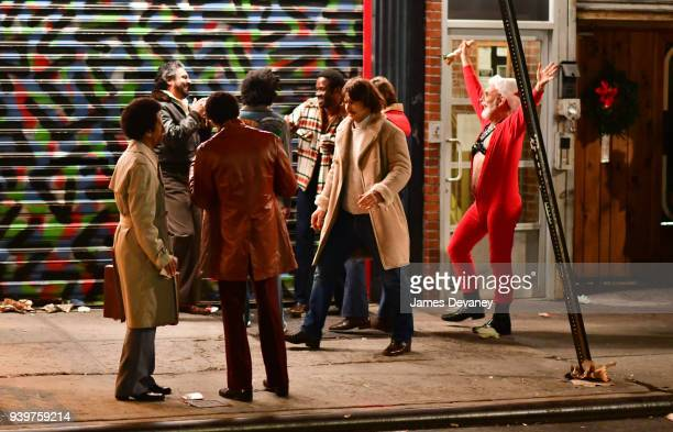 """James Franco seen on location for """"The Deuce"""" in the Lower East Side on March 28, 2018 in New York City."""