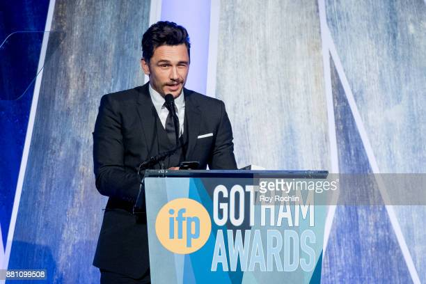 James Franco speaks onstage during IFP's 27th Annual Gotham Independent Film Awards at Cipriani Wall Street on November 27 2017 in New York City