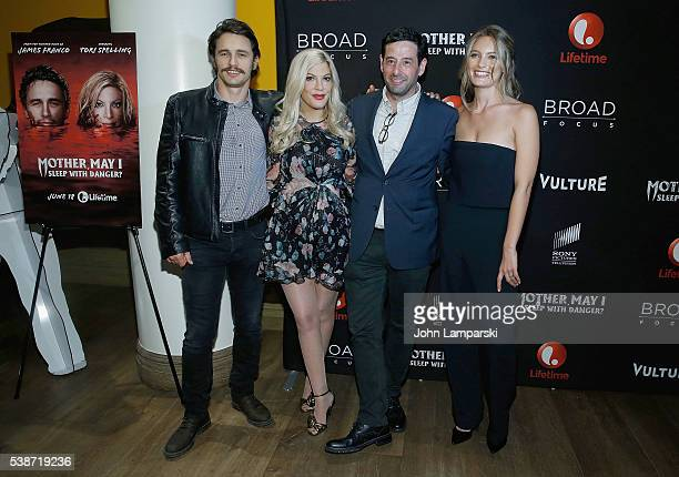 James Franco Tori Spelling Rob Sharenow and Leila George attend Mother May I Sleep With Danger New York screening at Crosby Street Theater on June 7...