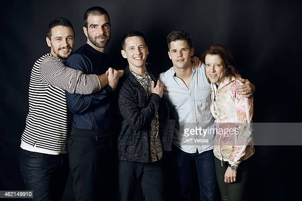 James Franco Zachary Quinto Justin Kelly Charlie Carver and Lauren Selig of 'I Am Michael' pose for a portrait at the Village at the Lift Presented...