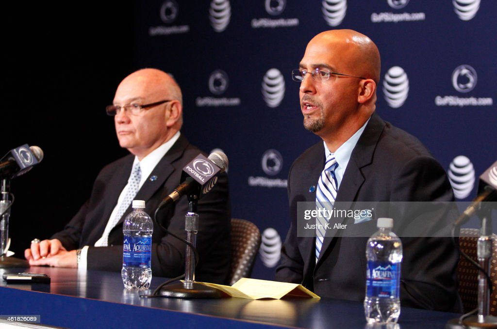 James Franklin, head coach of the Penn State Nittany Lions addresses the media on January 11, 2014 at Beaver Stadium in State College, Pennsylvania.